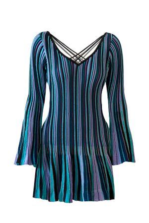 Vestido-Tricot-Plissado-Collors-Azul