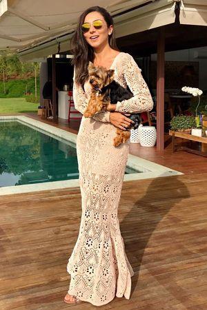 Crystal Lace Knit Dress - Rose - Lalá Noleto