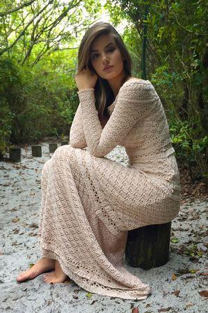 Vestido Tricot Lana Areia - Camila Queiroz