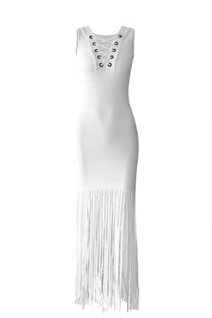 Vestido-Bandagem-Tiras-Branco