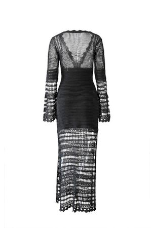 Vestido-Trico-Decote-Preto