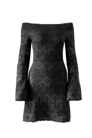 Vestido-Tricot-Rayon-Flare-Preto
