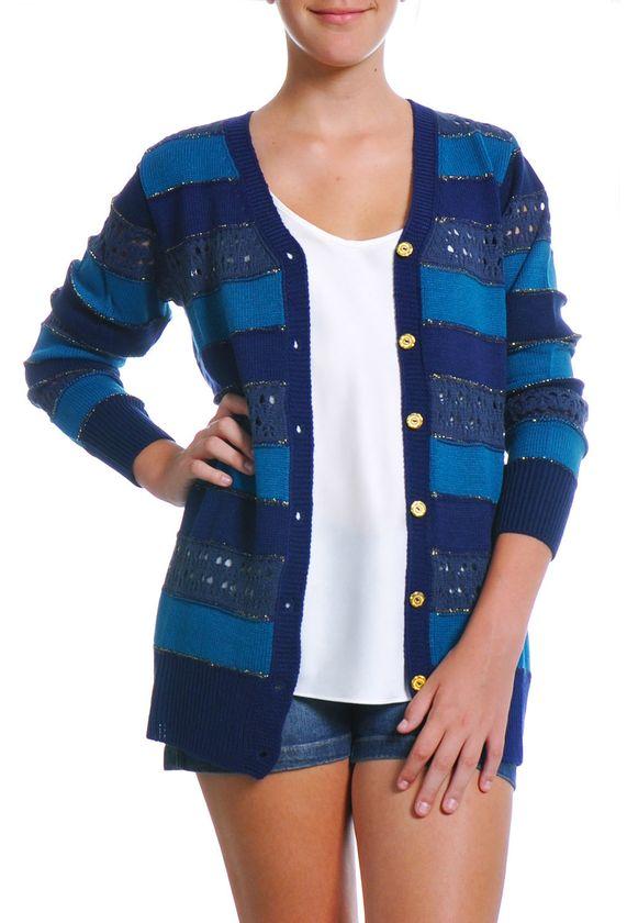 Casaco tricot listrado metalizado azul M