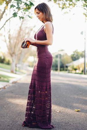 Vestido Tricô Seventies Uva