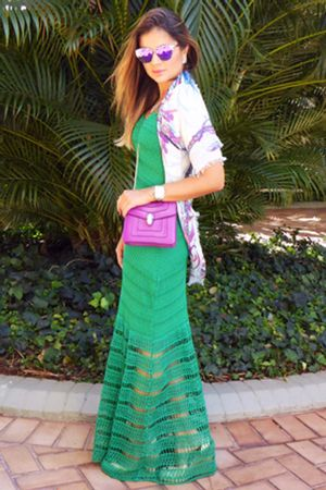 Vestido Tricô Seventies Verde