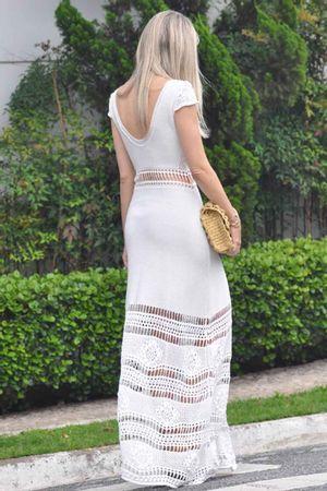 Vestido Tricô Primavera Longo Branco