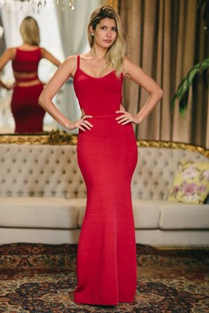 Vestido Longo Bandagem Recortes Vermelho