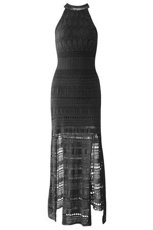 Vestido Tricot Fendas Preto