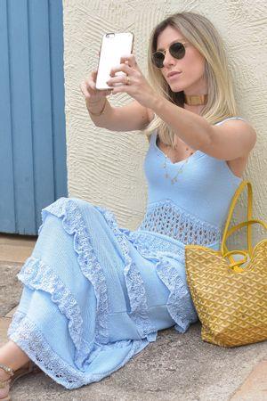 Vestido Tricô Babados Longo Azul Sonho