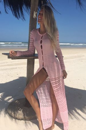 Vestido Glam Tricô Fenda Rosa