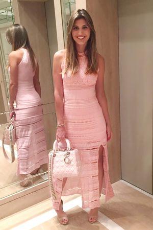 Vestido Tricot Fendas Rosa