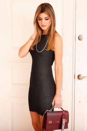 Vestido Bandagem Textura Preto