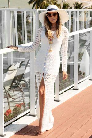 Vestido Glam Tricô Fenda Branco