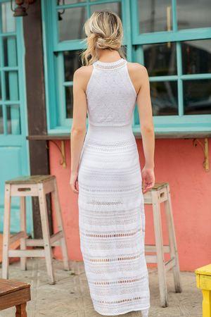 Vestido Tricot Fendas Branco- Gabriela Fiori