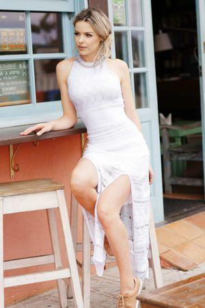 Vestido Tricot Fendas Branco - Gabriela Fiori
