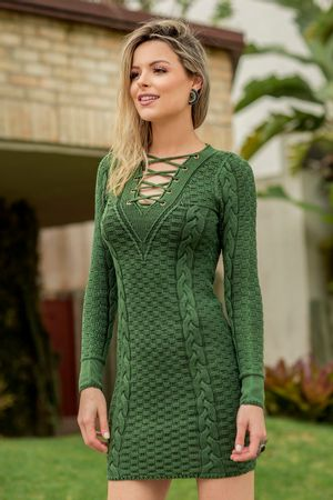 Vestido Tricô Delavê Verde