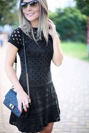 Crochet Embroidered Flower Dress - Black - Lalá Noleto
