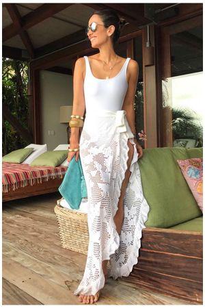 Caftan Knit Tie - White - Silvia Braz