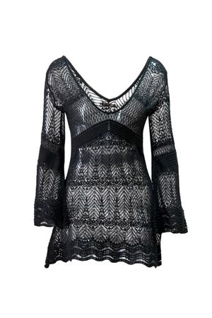 Isis Lace Knit Caftan - Black