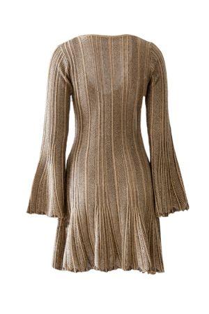 Vestido-Trico-Plissado-Madri-Dourado