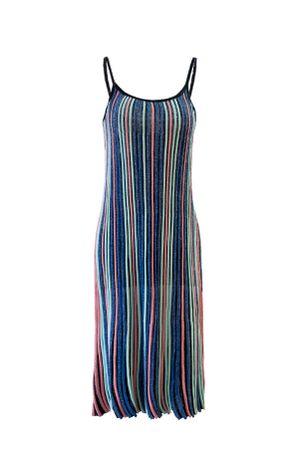 Vestido-Tricot-Plissado-Lurex-Azul