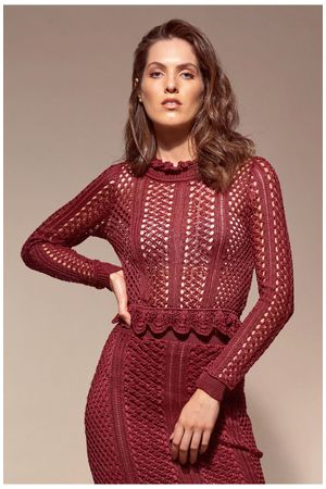 Galícia Knit Crop Top - Burgundy