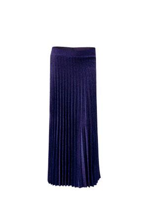 Saia-Lurex-Midi-Plissada-Azul