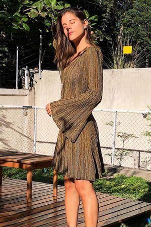 Vestido-Tricot-Plissado-Madri-Dourado