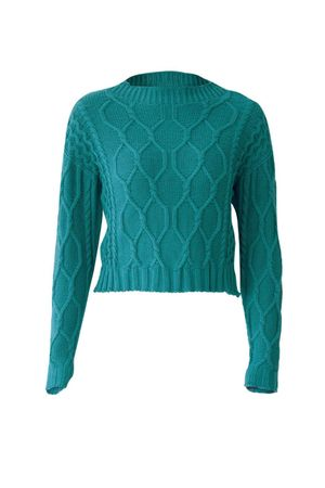 Sweater Knit Crop Top - Blue