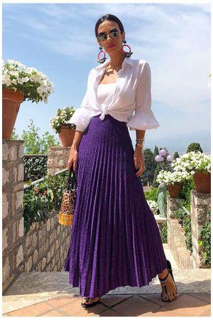 Metallic Lurex Midi Skirt - Violet