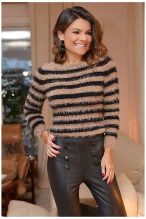 Angorá Striped Knit Sweater - Caramel -
