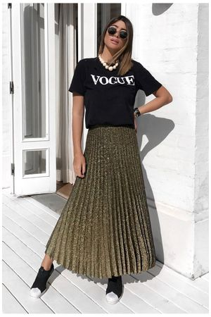 Metallic Lurex Midi Skirt - Gold
