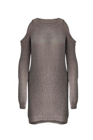 Vestido-Tricot-Ombro-Vazado-Cinza