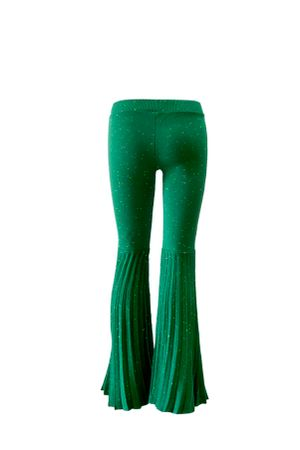 Calca-Shine-Lurex-Flare-Verde-costas