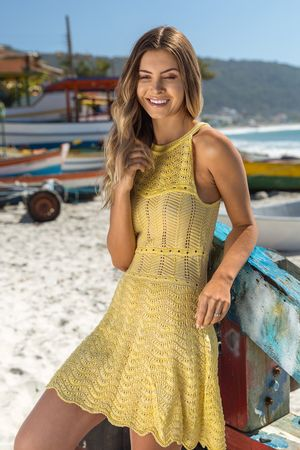 Wave-Knit-Dress---Yellow