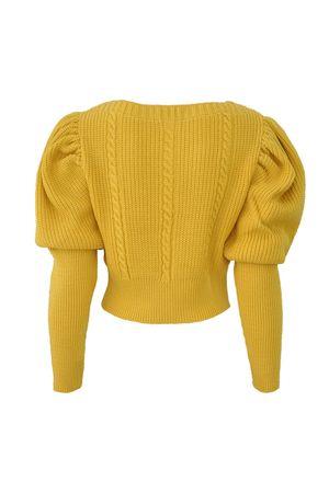 Blusa Cropped Tricot Trança Mostarda