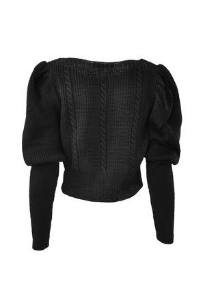 Blusa Cropped Tricot Trança Preta