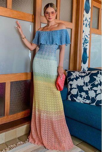 Carmen Knit Dress - Blue