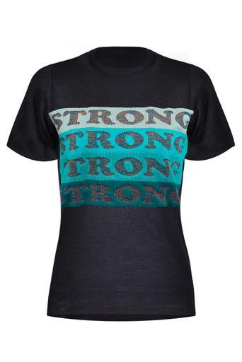 T-Shirt-Tricot-Strong-Preta-Frente