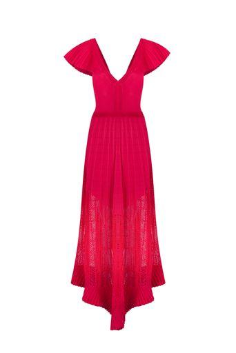 Vestido-Tricot-Longo-Afrodite-Cereja-Frente