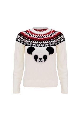 Blusa-Tricot-Nanda-Panda-Kids-Off-White-Frente