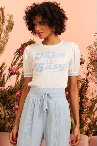 T-shirt-Tricot-Take-It-Easy-Off-White-Costas