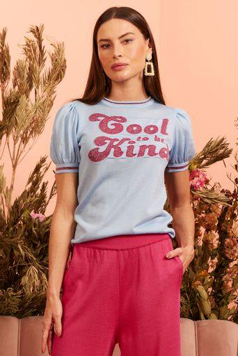 T-Shirt-Tricot-Cool-To-Be-Kind-Azul-Claro-Principal