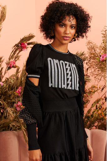 T-Shirt-Tricot-Amazing-Preto-Costas