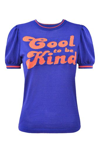 T-Shirt-Tricot-Cool-To-Be-Kind-Azul-Atlantico-Frente